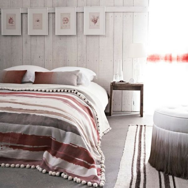 Attractive Einfache Dekoration Und Mobel Schlafzimmer Gestalten #13: Schlafzimmer Ländlich Farben Gestalten Dekoideen Streifen Bettwäsche