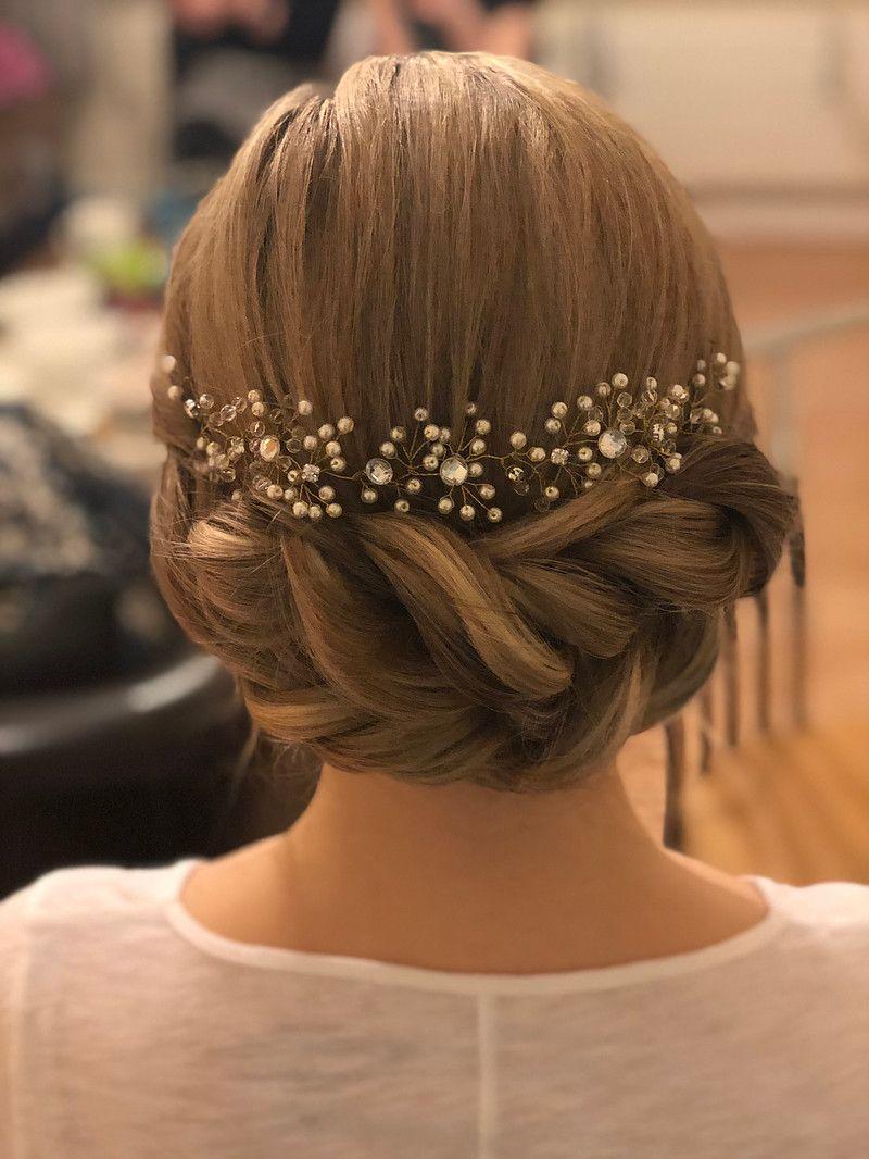 beautiful rope braid bridal up-do with hair vine kent bridal
