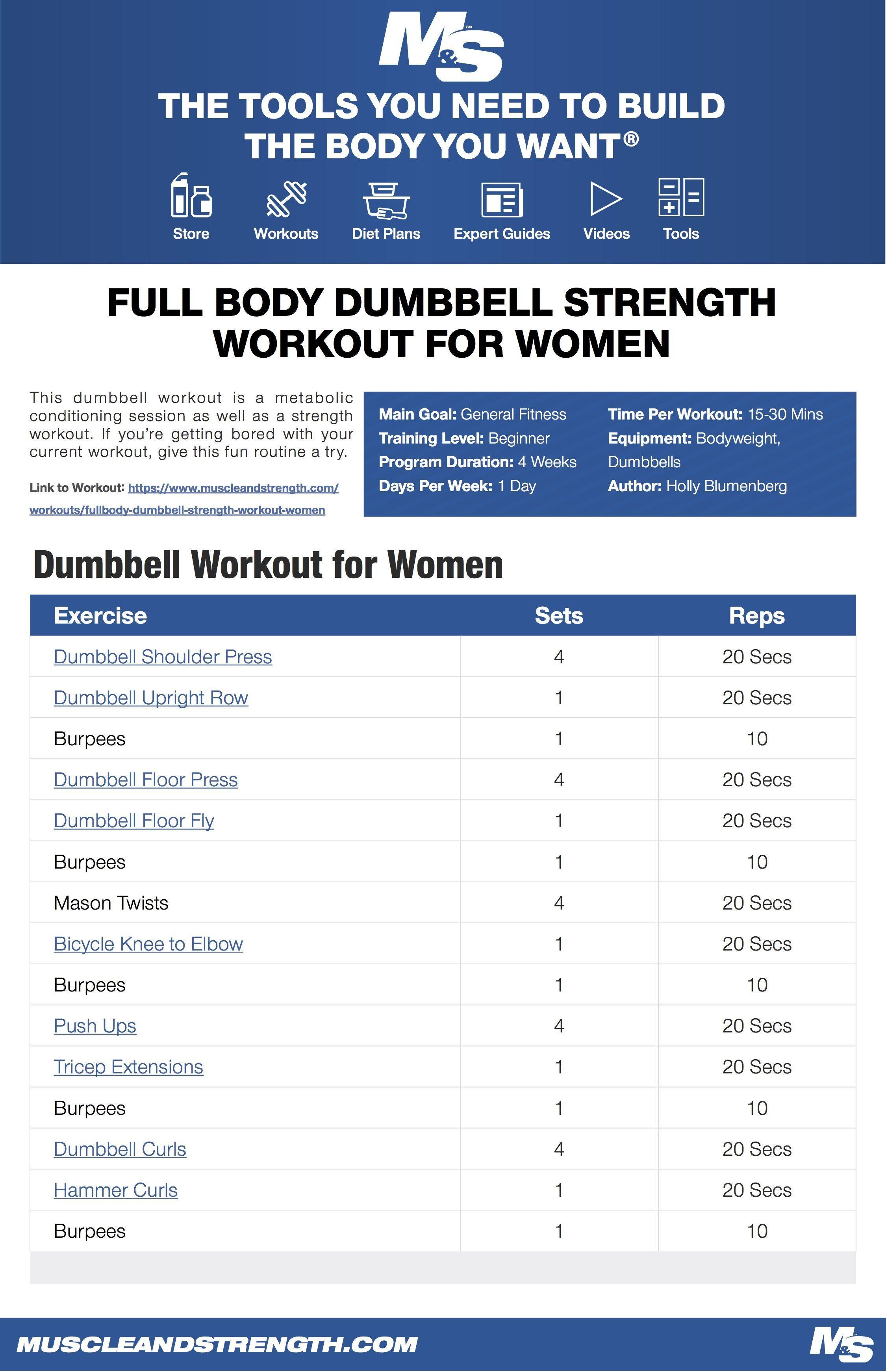 Full Body Dumbbell Strength Workout For Women Strength Workout Metabolic Conditioning Workout Metabolic Conditioning