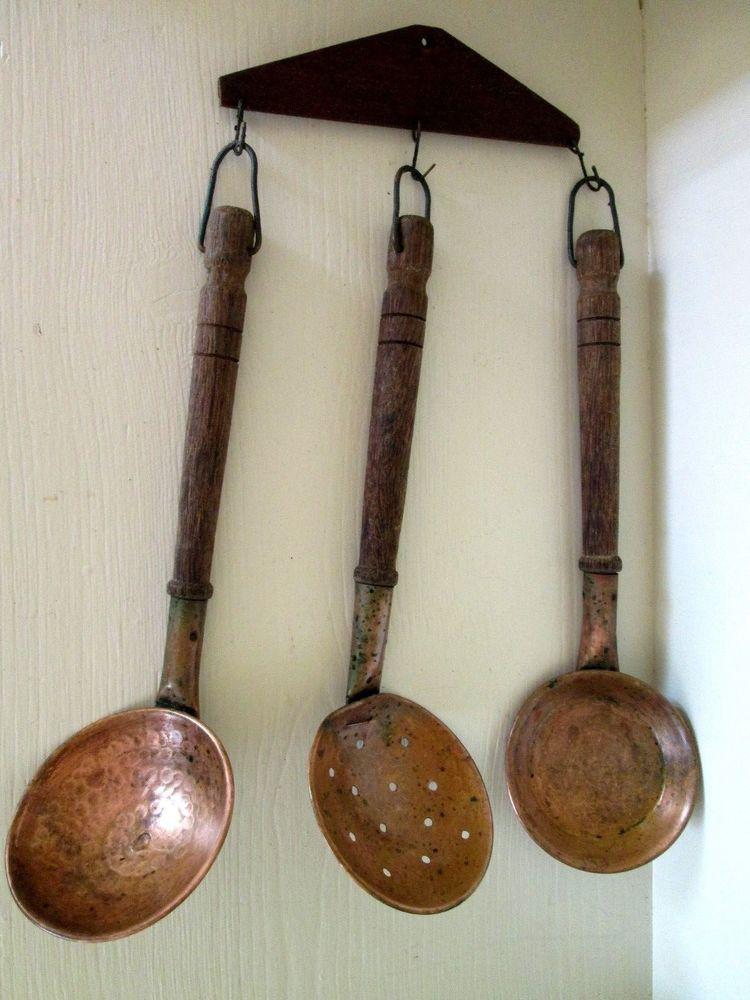 Vintage Wall Hanging Copper Kitchen Utensils 4 Piece Set Wall Rack Wood Handle Copper Kitchen Wood Handle Copper Kitchen Utensils