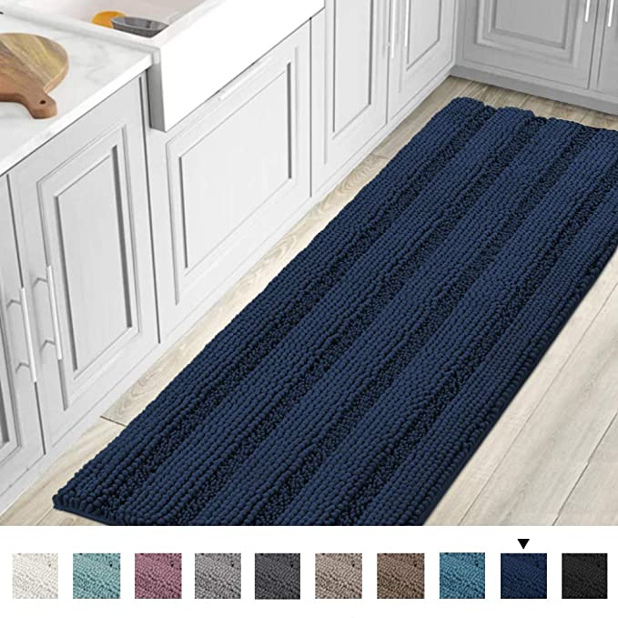Amazon Striped Luxury Chenille Bathroom Rug Mat Runner Oversized 59x20 Inch Extra Soft And Absorbent S In 2020 Bathroom Rugs Blue Bathroom Rugs Chenille Bathroom Rugs