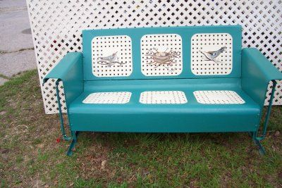 Vintage Metal Porch Glider How Cool Is This Custom