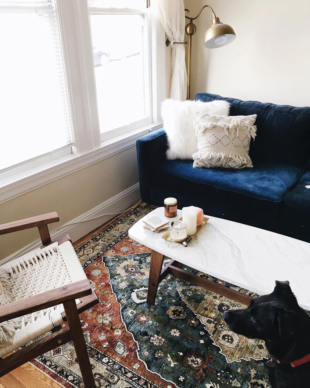 Bohemian Decor Modern California Style Living Room Ideas Antique Rug Navy Blue Couch Marble Coffee Table Uohome Urban Outers Home
