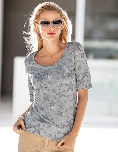 Damen Viskose-Shirt mit rundem Ausschnitt und kurzen Ärmeln, Sonnenbrille mit Gläsern im Farbverlauf