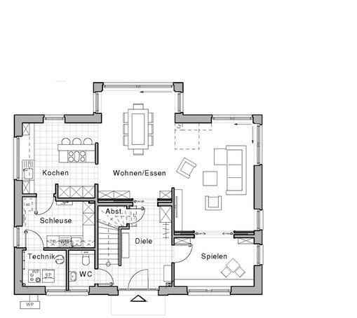 Grundriss erdgeschoss edition 425 wohnidee haus von for Zweifamilienhaus plan