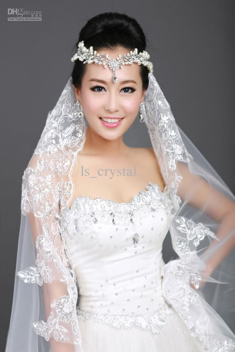 New 1T Ivory Ribbon Lace Bridal Veil Rhinestone Frontlet Comb Shiny Crystal Crwon Tiaras Silk Wedding Jewelry Set Costume