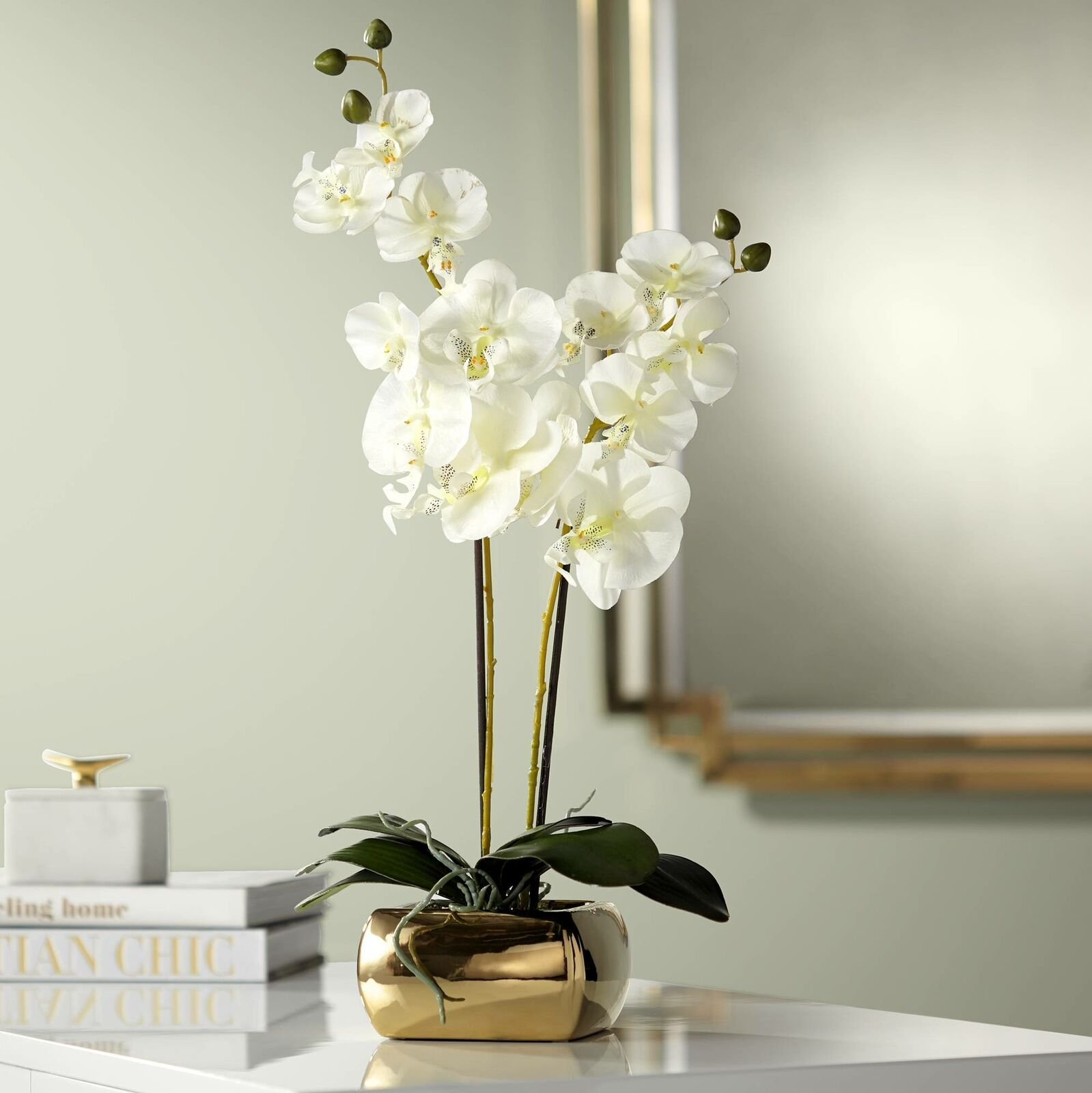 White Orchid 22 High Faux Flowers In Gold Ceramic Pot White Flower Ideas Of White Flower Whiteflower Flower Bathroom Flowers Faux Flowers White Orchids