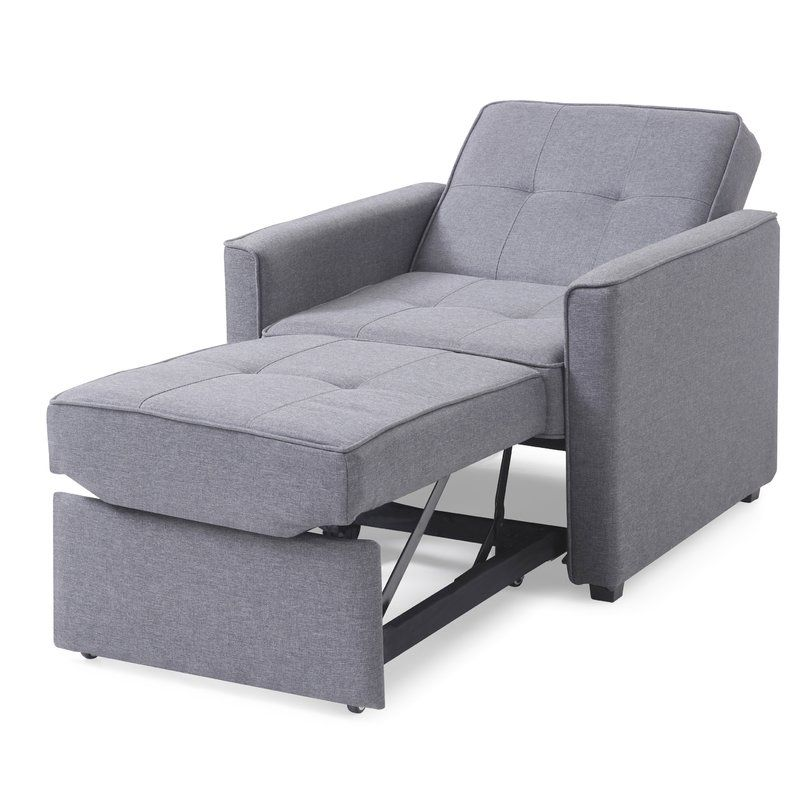 Chandler Grey Convertible Arm Chair Bed With Images Convertible Furniture Chair Bed Recliner Chair