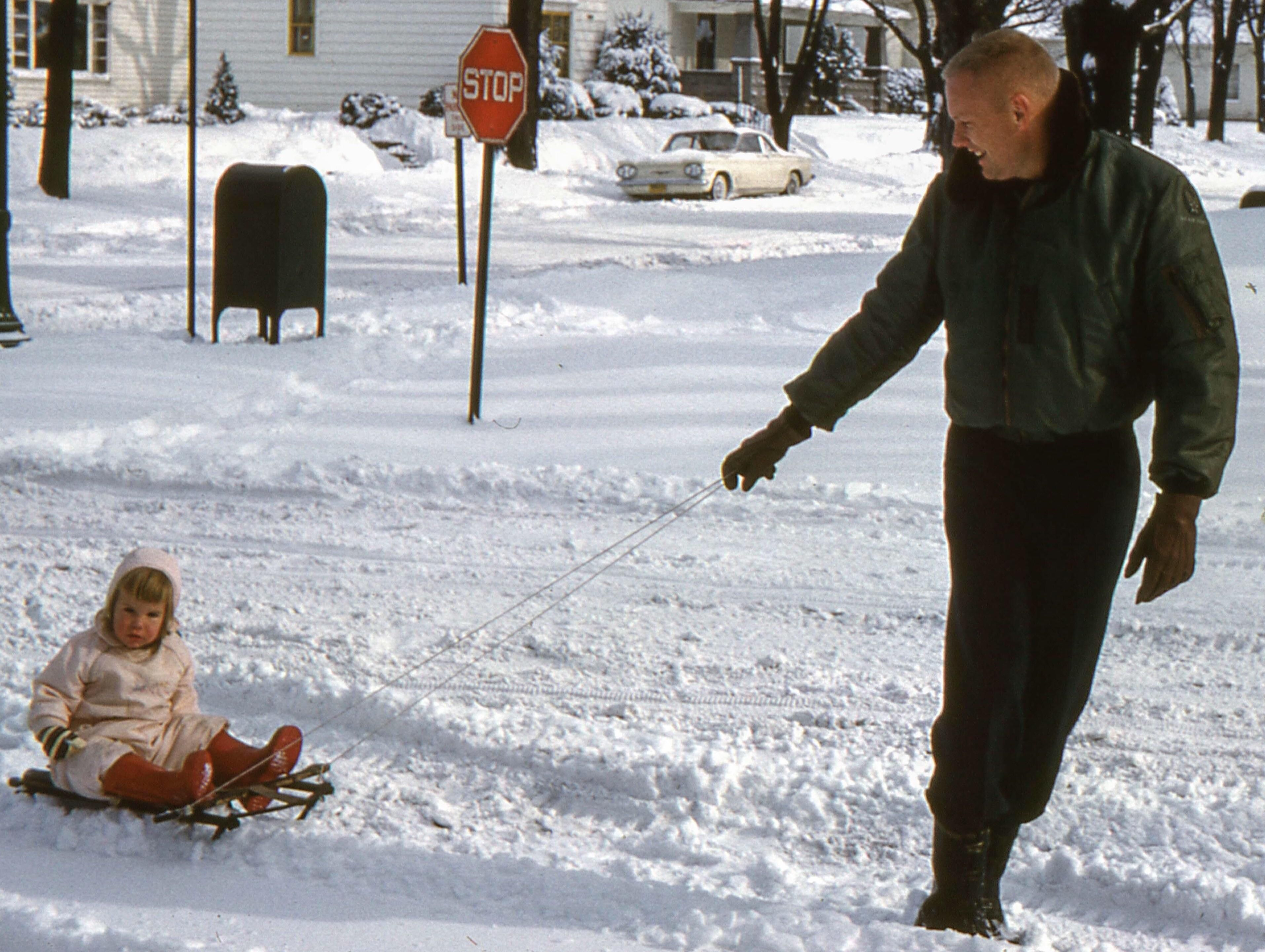 Neil Armstrong And Daughter Karen Age 2 On A Snowy Day
