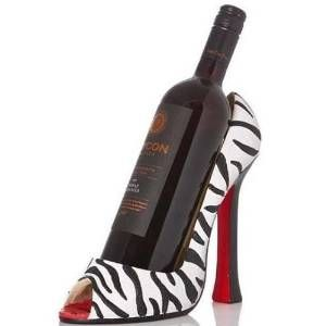 Wild Eye High Heel Bottle Holder Zebra Wine