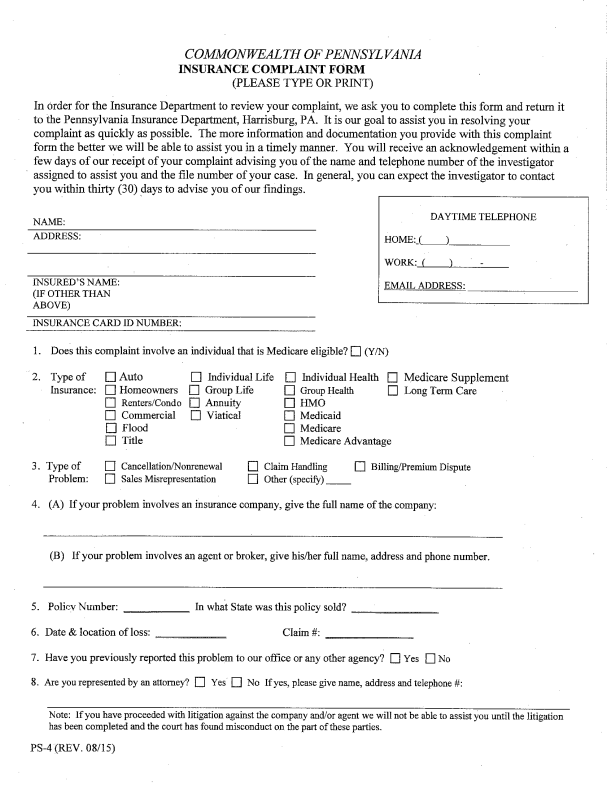 InsuranceCommissionerComplaintsByStateWisconsinPartOf
