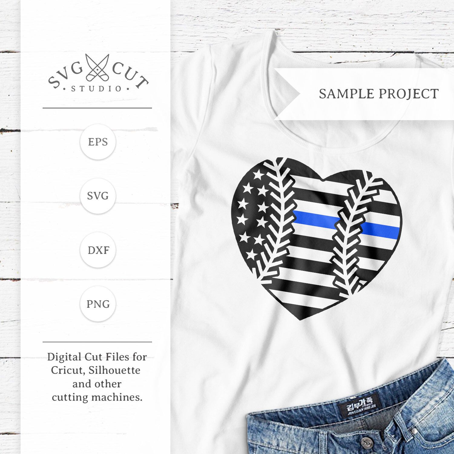 Thin Blue Line Flag Baseball Heart Svg Png Dxf Files For