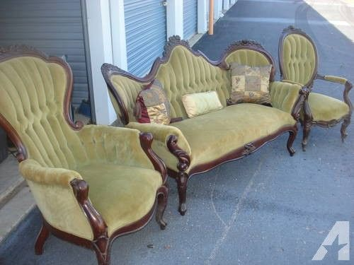 Antique Victorian Parlor Set Couch And Chairs Classic Home Furniture Furniture White Furniture Living Room