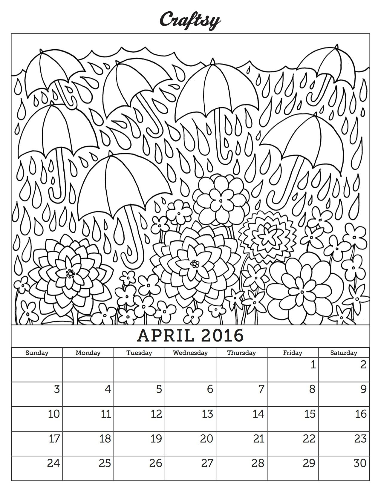 April 2016 Coloring Page Calendar Coloring for Adults