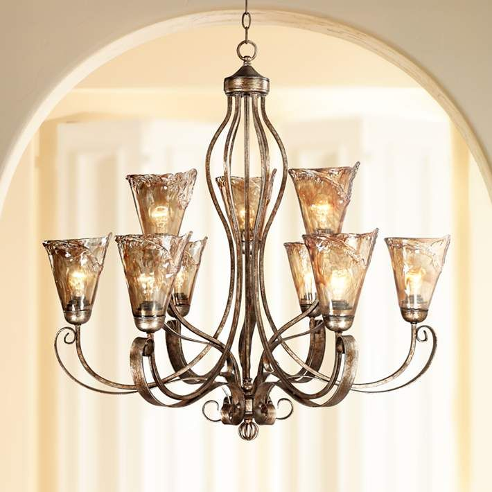 "35 Tasteful Dining Room Lighting Ideas: Amber Scroll 35 1/2"" Wide Chandelier - #66491"
