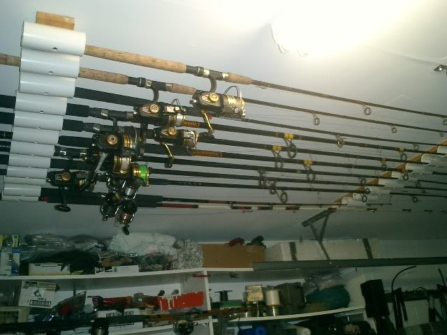 My grandfather would have loved this for his fishing rods for Homemade fishing rod storage ideas