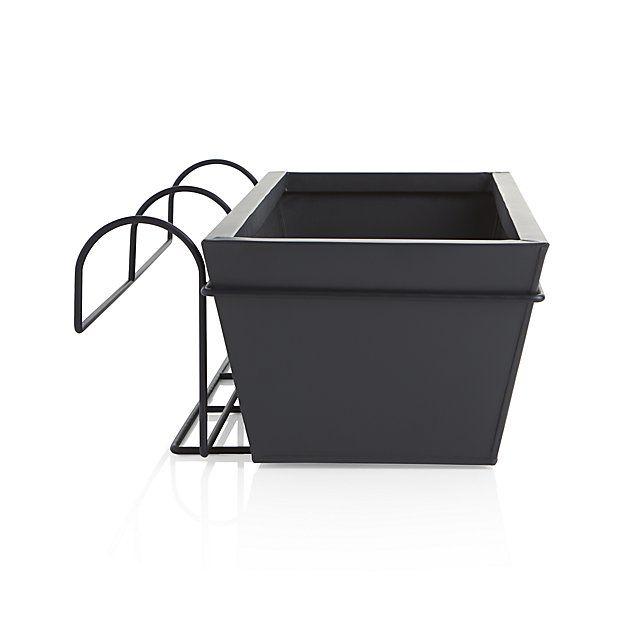 zinc rectangular rail planter crate and barrel crates barrels and planters. Black Bedroom Furniture Sets. Home Design Ideas