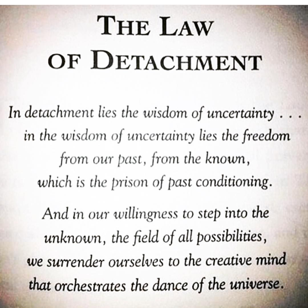 The Law Of Detachment Yogaquote Psychologicalhackswords