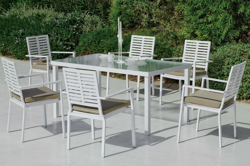 Salon de jardin table Hévéa Alabay beige aluminium blanc 6 places ...