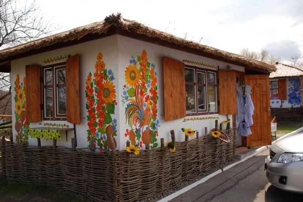 Ukrainian house decorated in Petrykivka style.