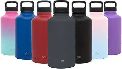 Simple Modern 84 Ounce Summit Water Bottle Large Stainless Steel Half Gallon Flask 2 Lids Wide Mouth Double Wall Vacuum Insulated Grey Leakproof Graphite Water Bottle Stainless Water Bottle Best Water Bottle
