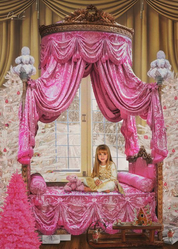 digital composite art supply christmas 2 pack Blue bed Pink bed digital backgrounds ornate fairytale winter backdrops