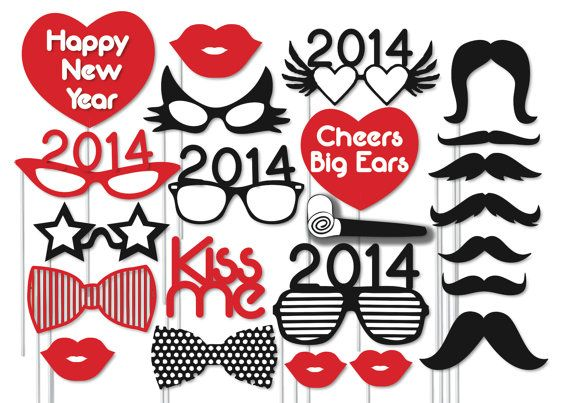 new year party printable instant download photo booth prop 23 ready print images hats bow ties glasses mustaches lips kissme
