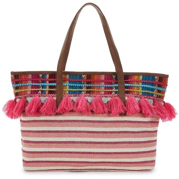 Glamorous Tassel Beach Bag ($41) ❤ liked on Polyvore featuring bags, handbags, striped beach bag, fringe purse, summer handbags, white purse and white tote handbags