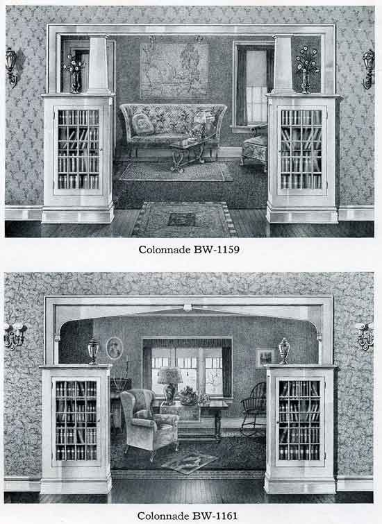 Colonnade with built-in bookcase cabinets - Bilt-Well Catalog - c. 1920s