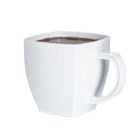 Sm8wh 8 Oz White Square Coffee Mugs