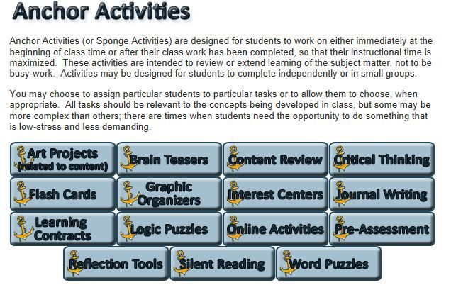 Anchor Activities To Help Maximize Instructional Time Misc
