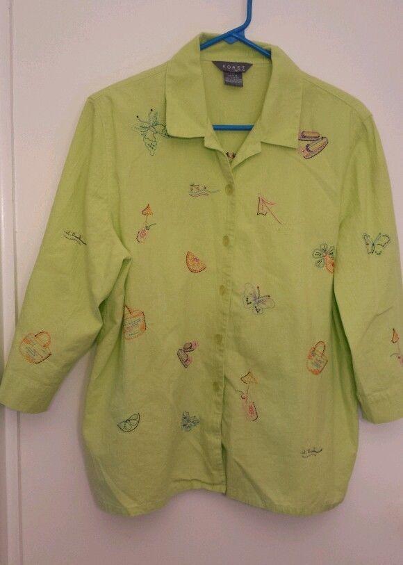 KORET Lime Green Embroidered Button down Collared Shirt Petite size PXL EUC GUC #Koret #ButtonDownShirt