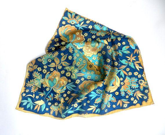 Deep blue hand painted silk scarf. Floral silk by ArmeniaOnSilk