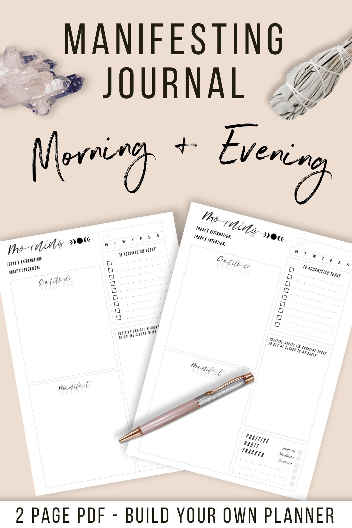 Gratitude Journal Manifesting Journal Morning Amp Evening