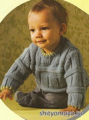 простая схема вязания спицами детского свитера на 2 года деткам