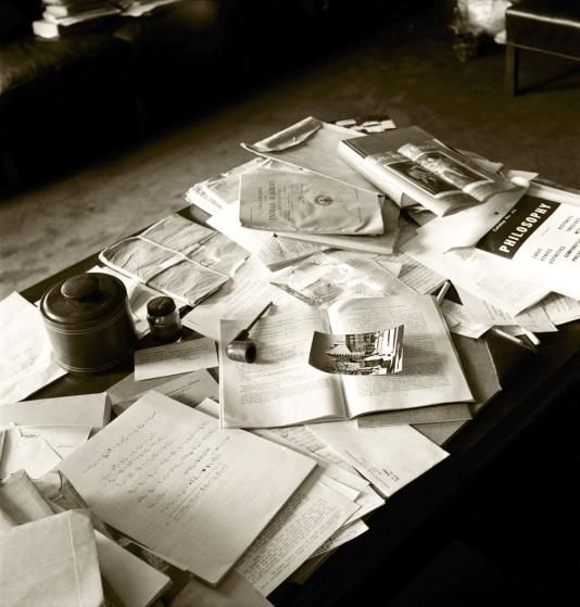 <b>Not published in LIFE.</b> Albert Einstein's papers, pipe, ashtray and other personal belongings in his Princeton office, April 18, 1955.