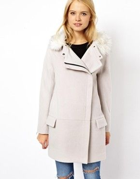 Ovoid Coat With Faux Fur Collar at ASOS