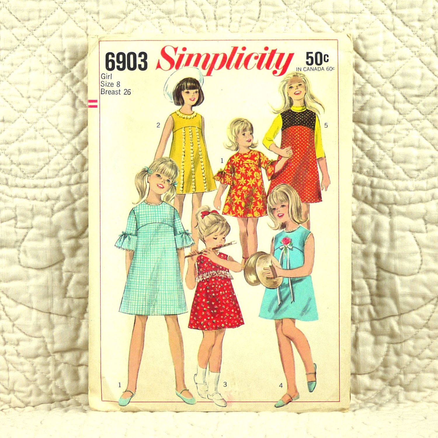 Girls Dress and Jumper, Simplicity 6903 Pattern, FREE SHIP, Empire Waist, A Line, Back Zipper, 1966 Cut and Complete, Size 8, 2-oz by DartingDogPatterns on Etsy
