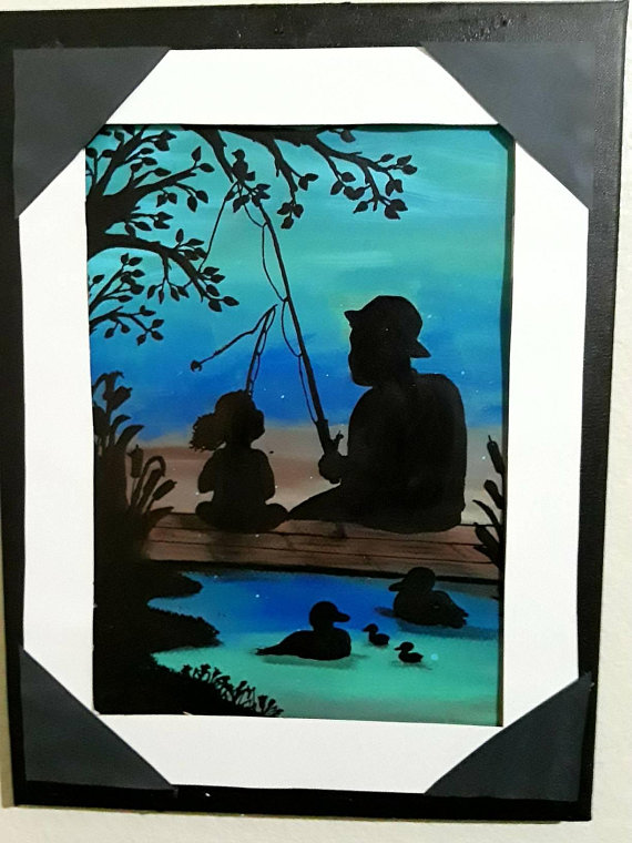 Original Watercolor And Acrylic Painting Of Father And Daughter Fishing This Sweet Painting Showcases The Bond B Painting Fish Painting Fishing Painting Canvas