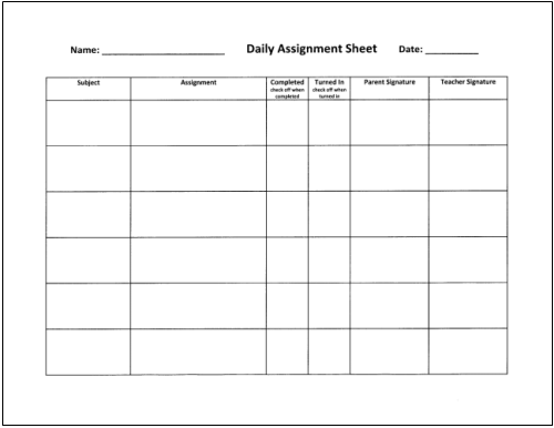homework planning sheet