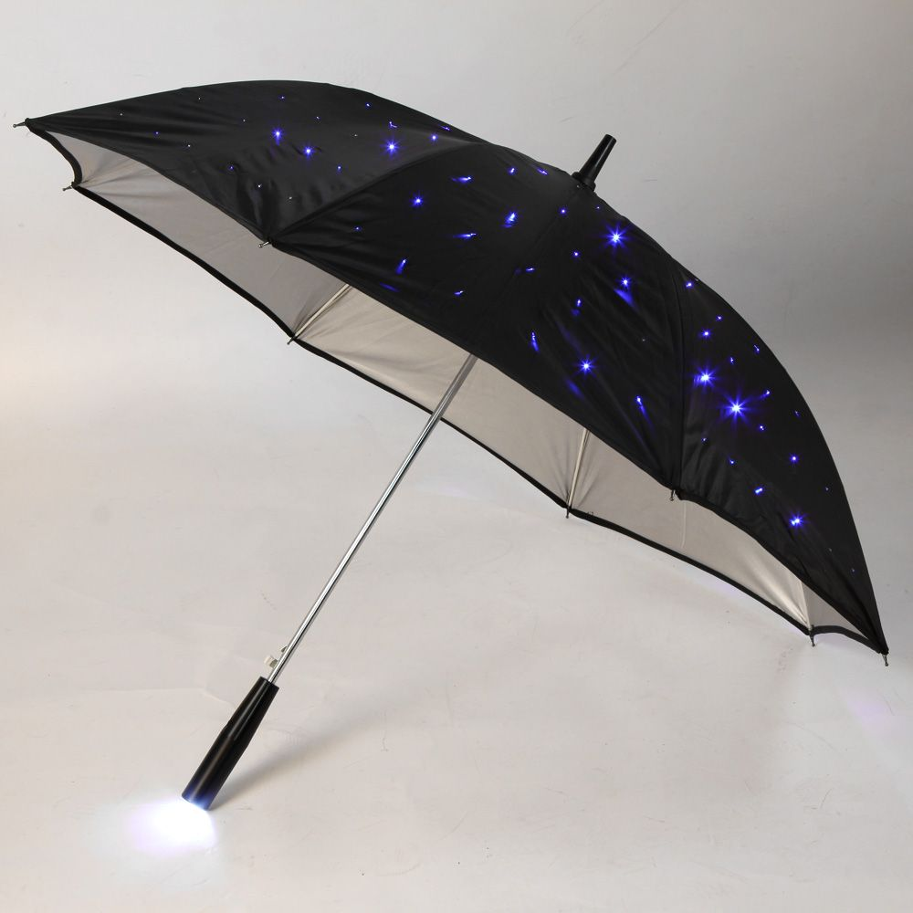 "Blue Led Umbrella: 23"" LED Light Rain Umbrella 132 Blue LED Fully-automatic 3"