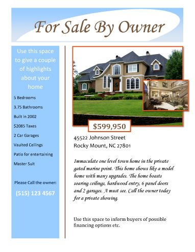 For sale by owner free flyer template by for Open house brochure template