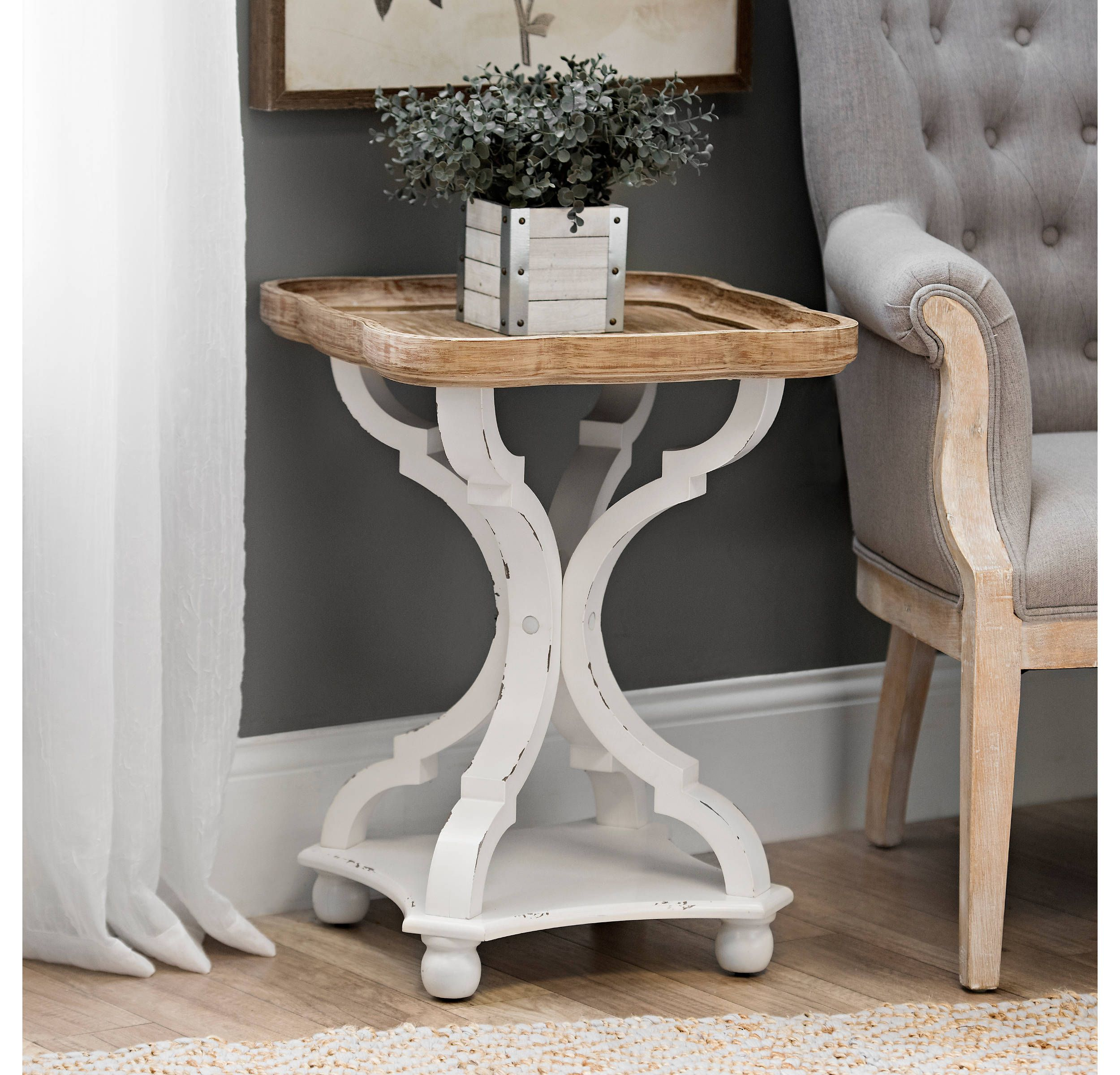 Cozayh Rustic Farmhouse Cottagecore Accent End Table Natural Tray Top Side Table Nightstand For Family Dinning Or Living Room Small Spaces Handcrafted Finis Side Table Wood Farmhouse Side Table Farmhouse End