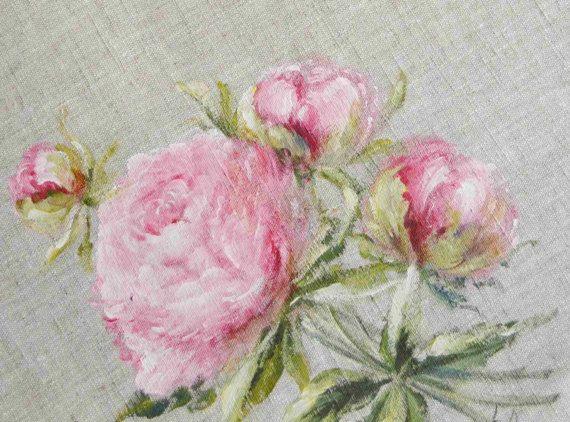 Tableau Peinture De Fleurs De Pivoines Sur Lin Par Frenchdecochic