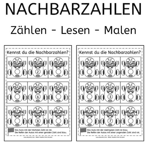 Nachbarzahlen, Rechnen, Mathe, Grundschule, Förderschule, Vorschule ...