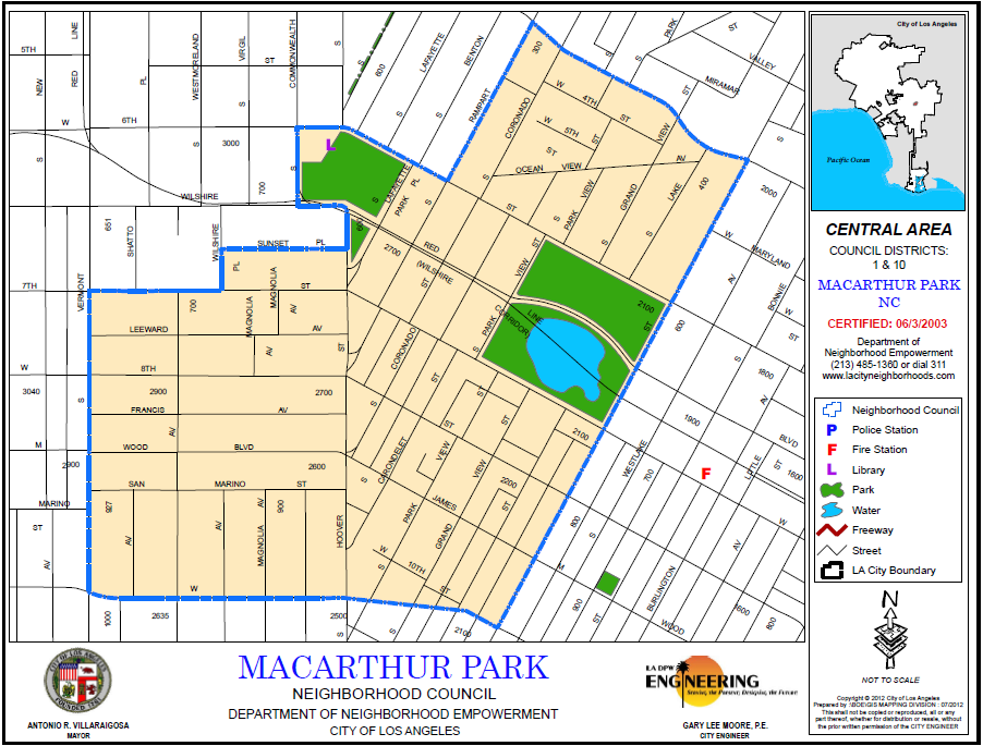 MacArthur Park Neighborhood Council Boundary Map Los Angeles