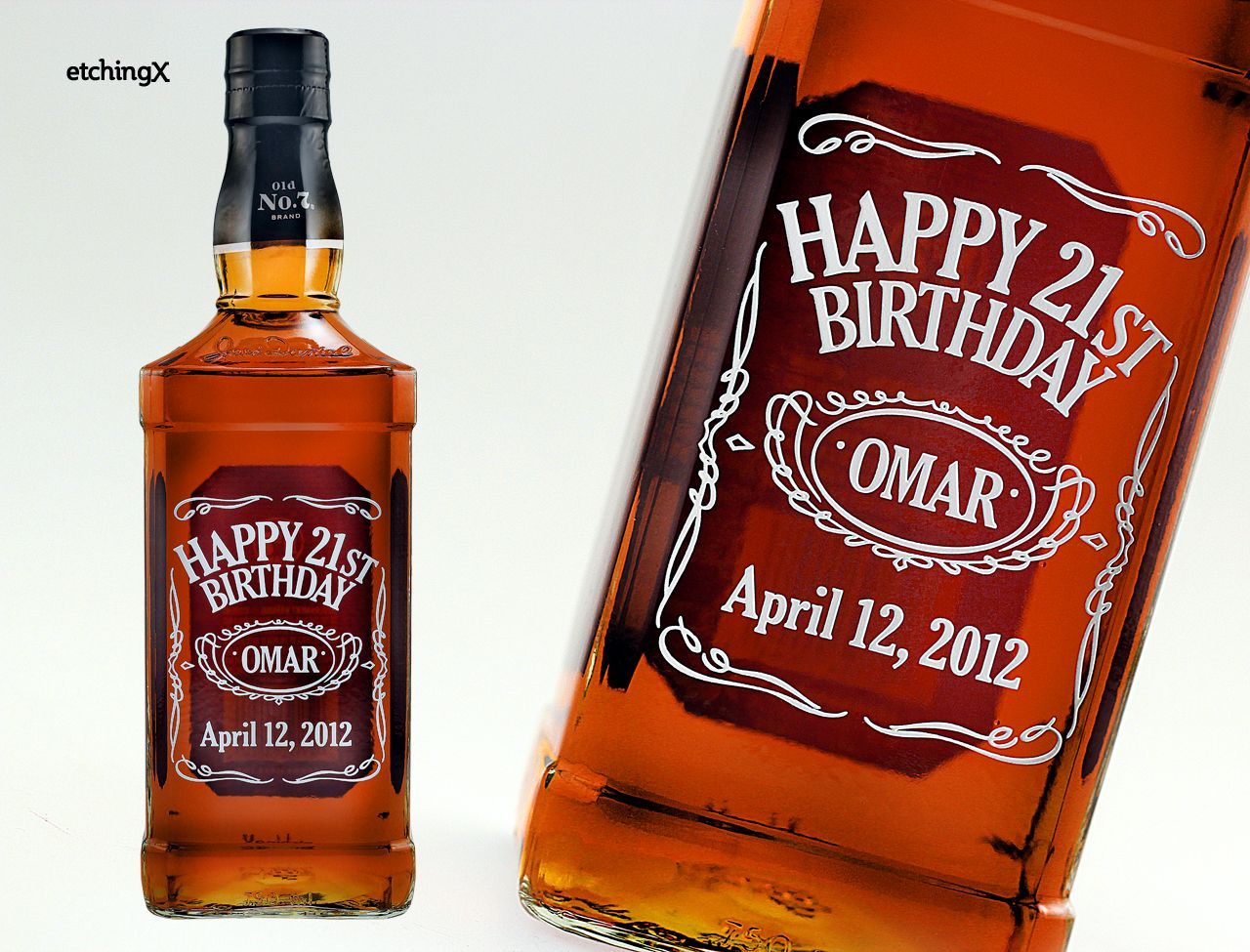 Label inspired etched liquor bottle of Jack Daniels.  Happy Birthday Omar!  Your custom design starts at $90