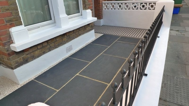 Front Garden Paving Ideas Formal front garden wall with paving and victorian tile path london formal front garden wall with paving and victorian workwithnaturefo