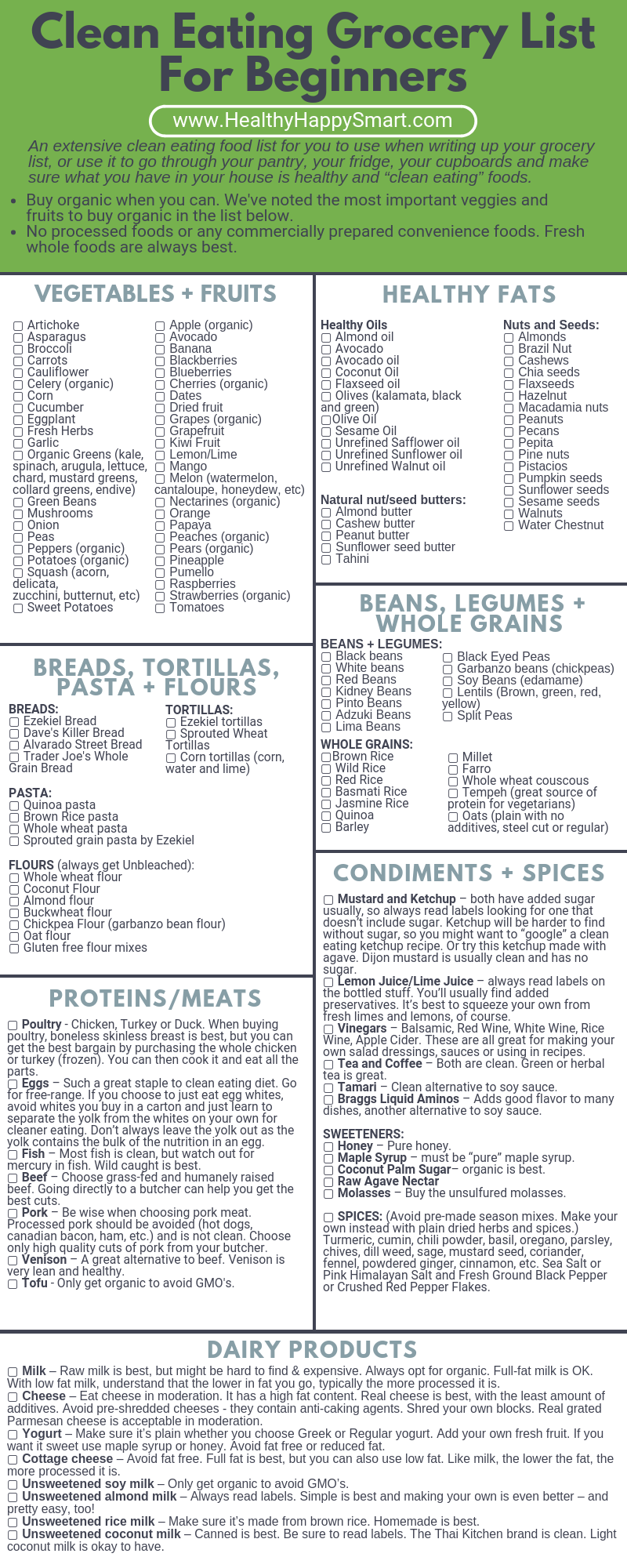 Clean Eating Grocery List • Healthy Food List | HHS