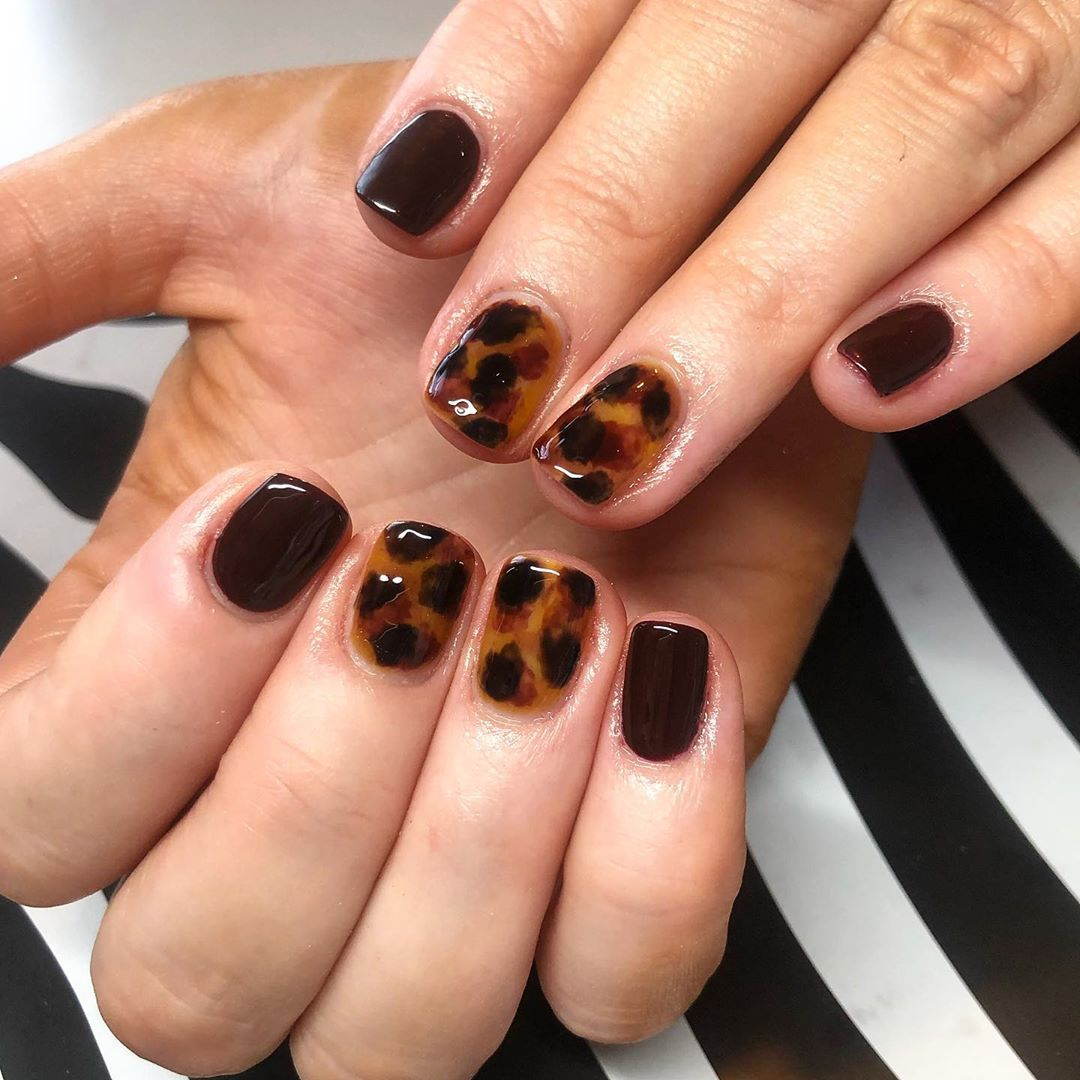 """Nails by Heather on Instagram: """"Deep tortoise shell… 🖤"""""""